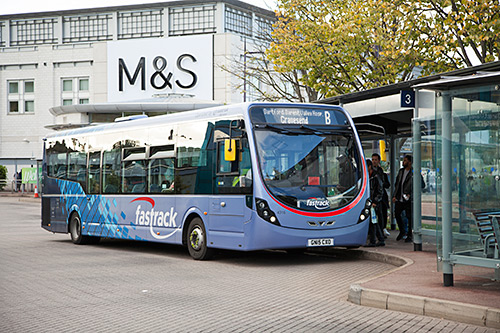 Fastrack bus outside Marks & Spencer at Bluewater shopping centre.