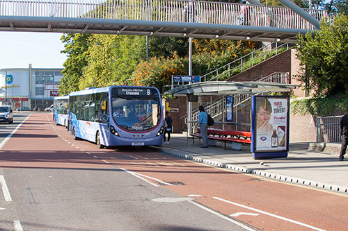 Fastrack bus stopped at a bus stop in Dartford Town centre.