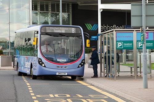 Fastrack bus at Ebbsfleet station.