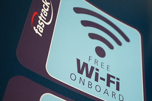 Image depicting the availability of free Wi-Fi onboard Fastrack buses.